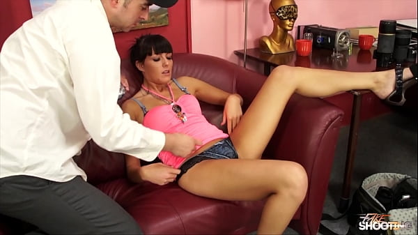 FakeShooting Sexy brunette looks happy and horny during her very first porn scene